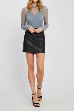 Shoptiques Product: Black Vegan Miniskirt