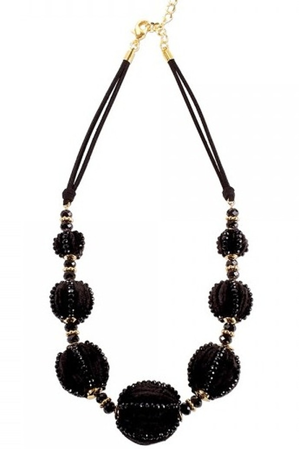 Periwinkle by Barlow BLACK VELVET BALLS WITH BEADS & GOLD TONE SPACERS - Main Image