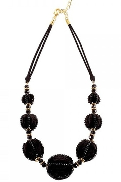 Shoptiques Product: BLACK VELVET BALLS WITH BEADS & GOLD TONE SPACERS