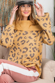 Easel  Leopard Print Cowl Off the Shoulder - Product Mini Image