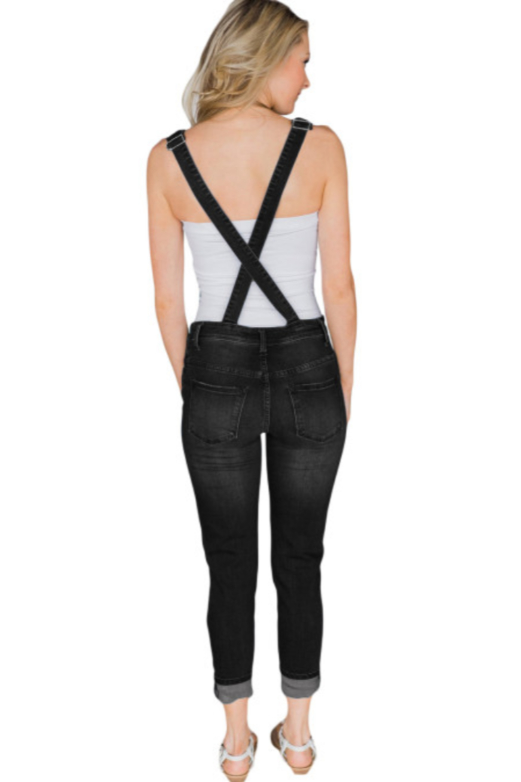The Emerald Fox Boutique Black Wash Distressed Jeans Overalls - Front Full Image