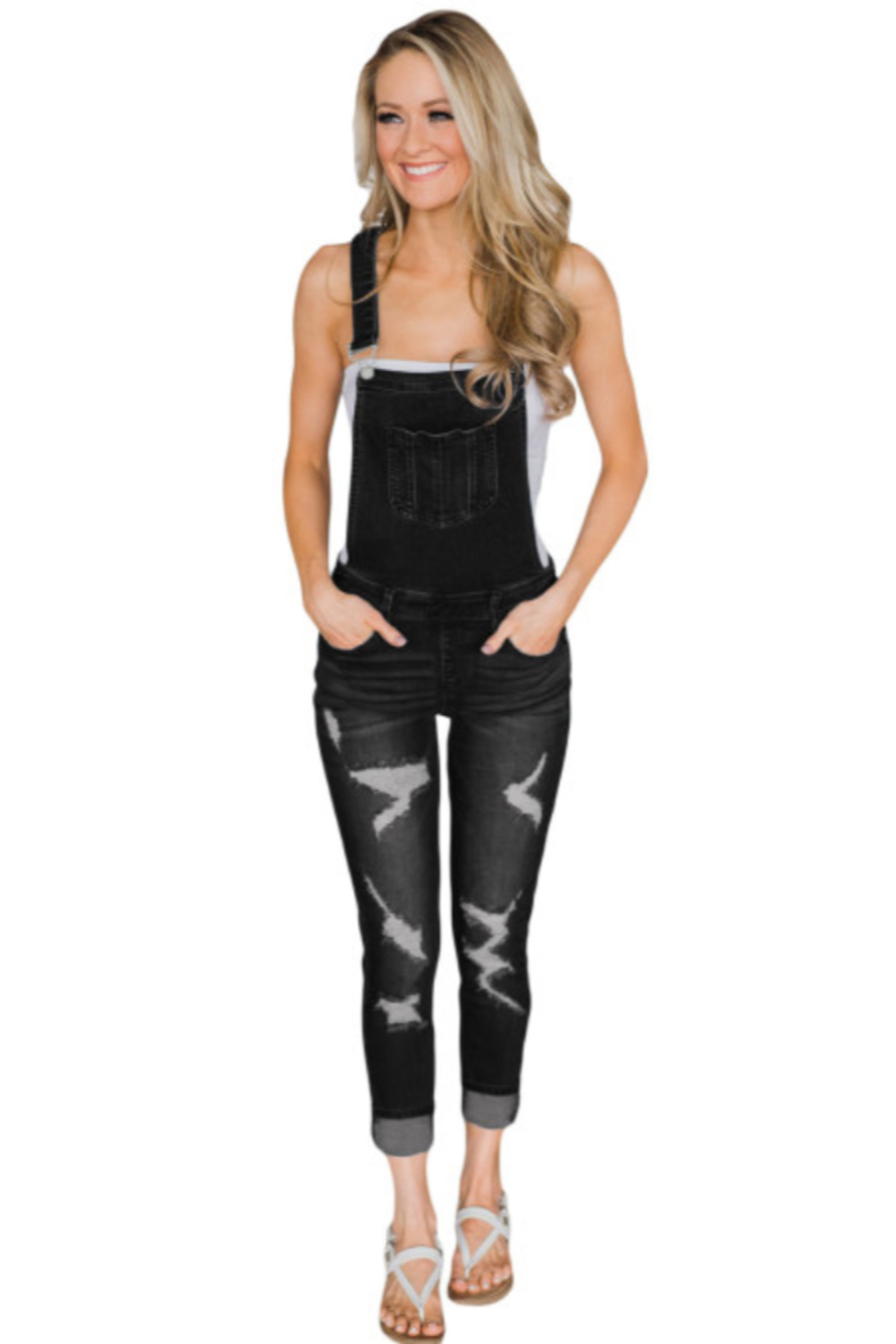 The Emerald Fox Boutique Black Wash Distressed Jeans Overalls - Main Image