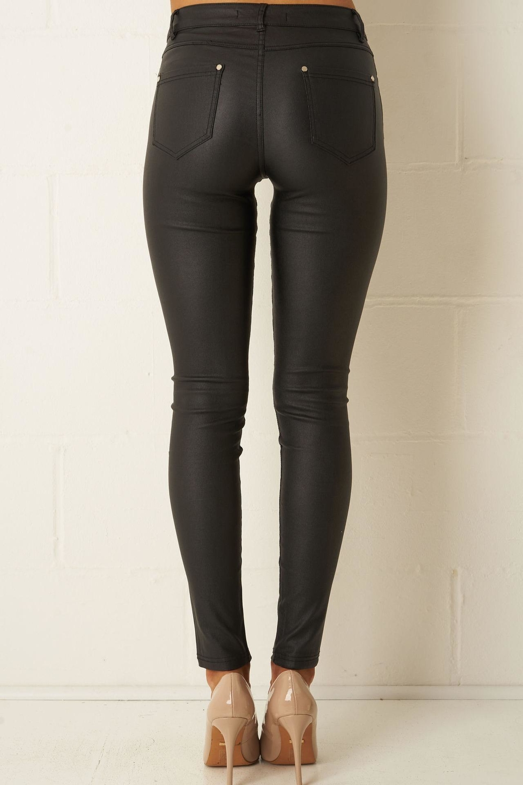 frontrow Black Wax-Coated Jeans - Front Full Image