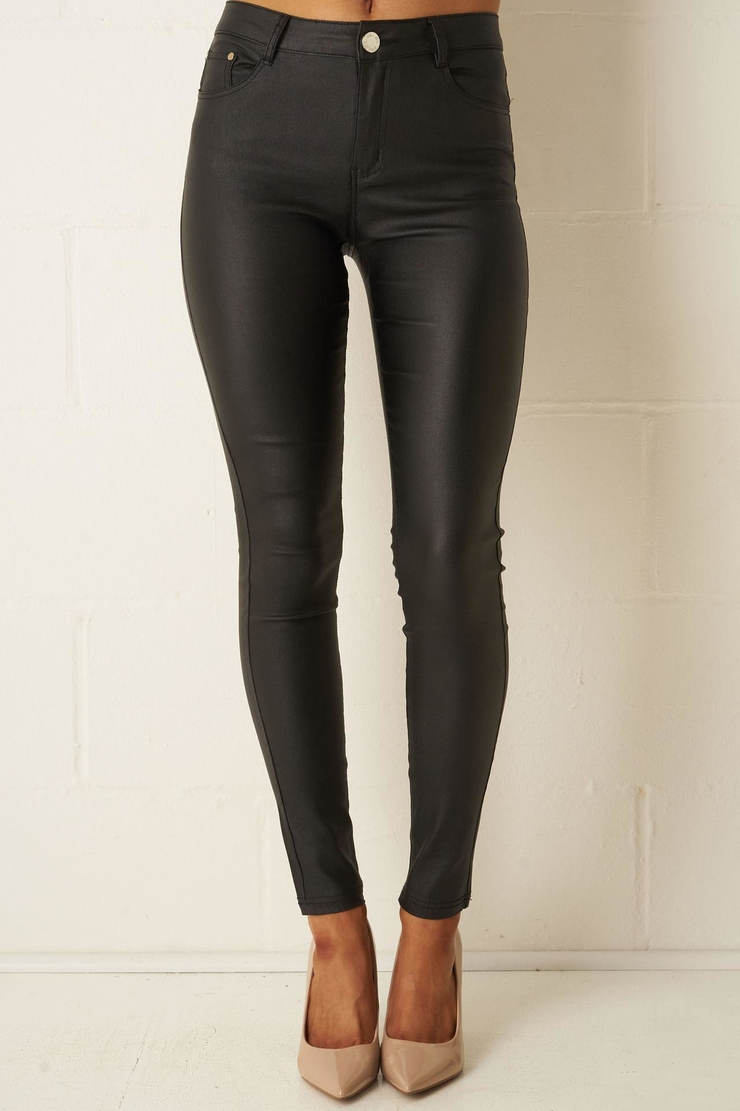 frontrow Black Wax-Coated Jeans - Main Image
