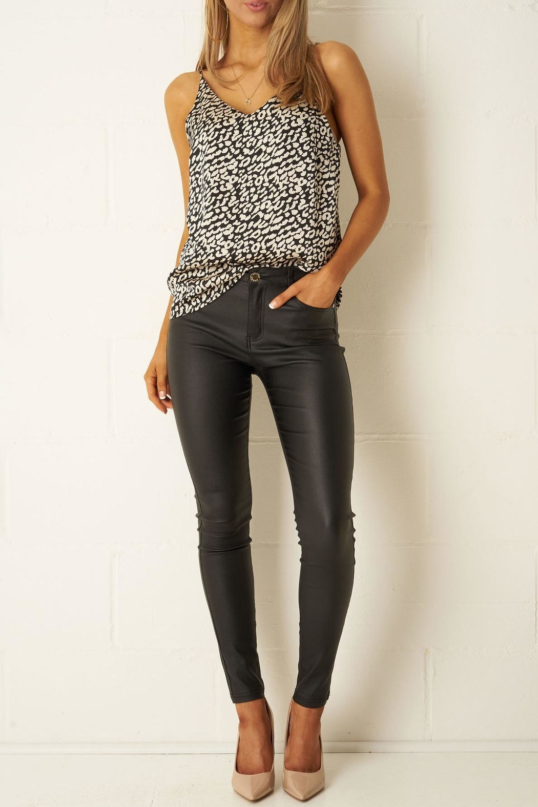 frontrow Black Wax-Coated Jeans - Side Cropped Image
