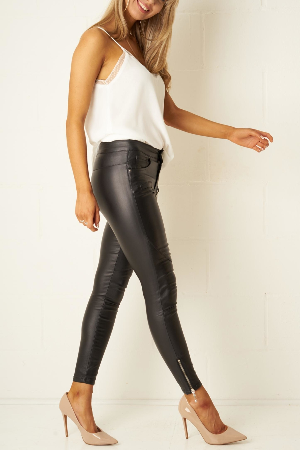 frontrow Black-Wax Zip Trousers - Back Cropped Image