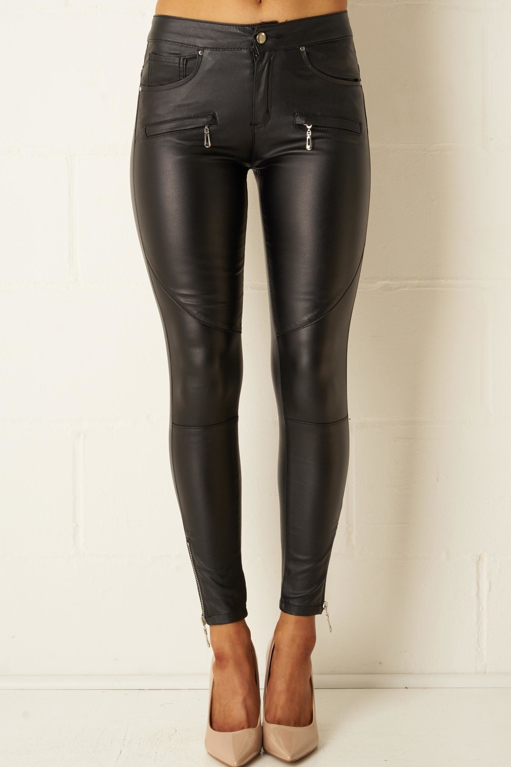 frontrow Black-Wax Zip Trousers - Main Image