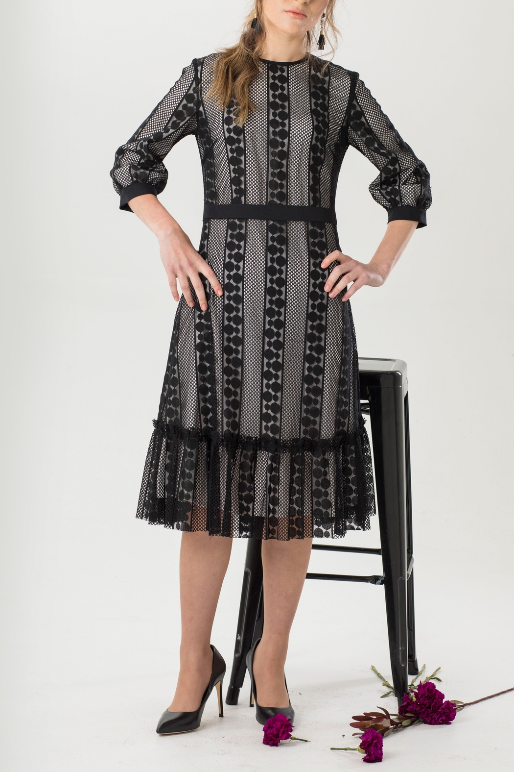 Luxe Label Black & White 3/4 Sleeve Lace Flare Knee Length Dress - Main Image