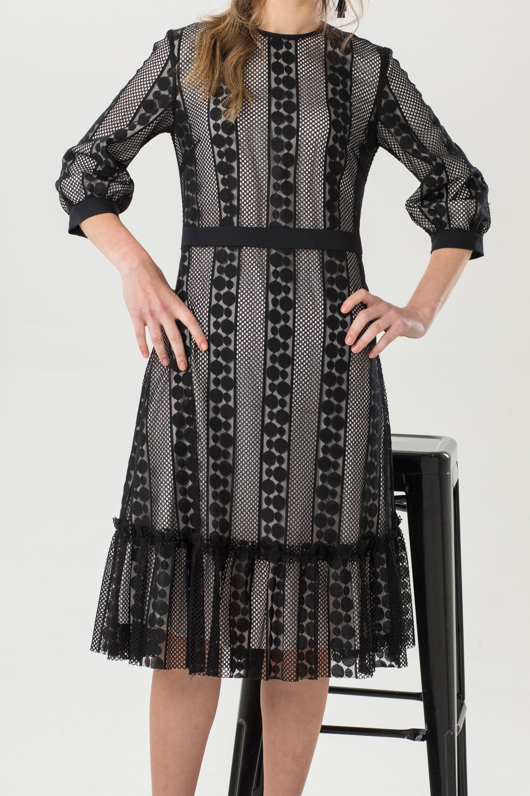 Luxe Label Black & White 3/4 Sleeve Lace Flare Knee Length Dress - Front Full Image