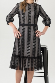 Luxe Label Black & White 3/4 Sleeve Lace Flare Knee Length Dress - Front full body