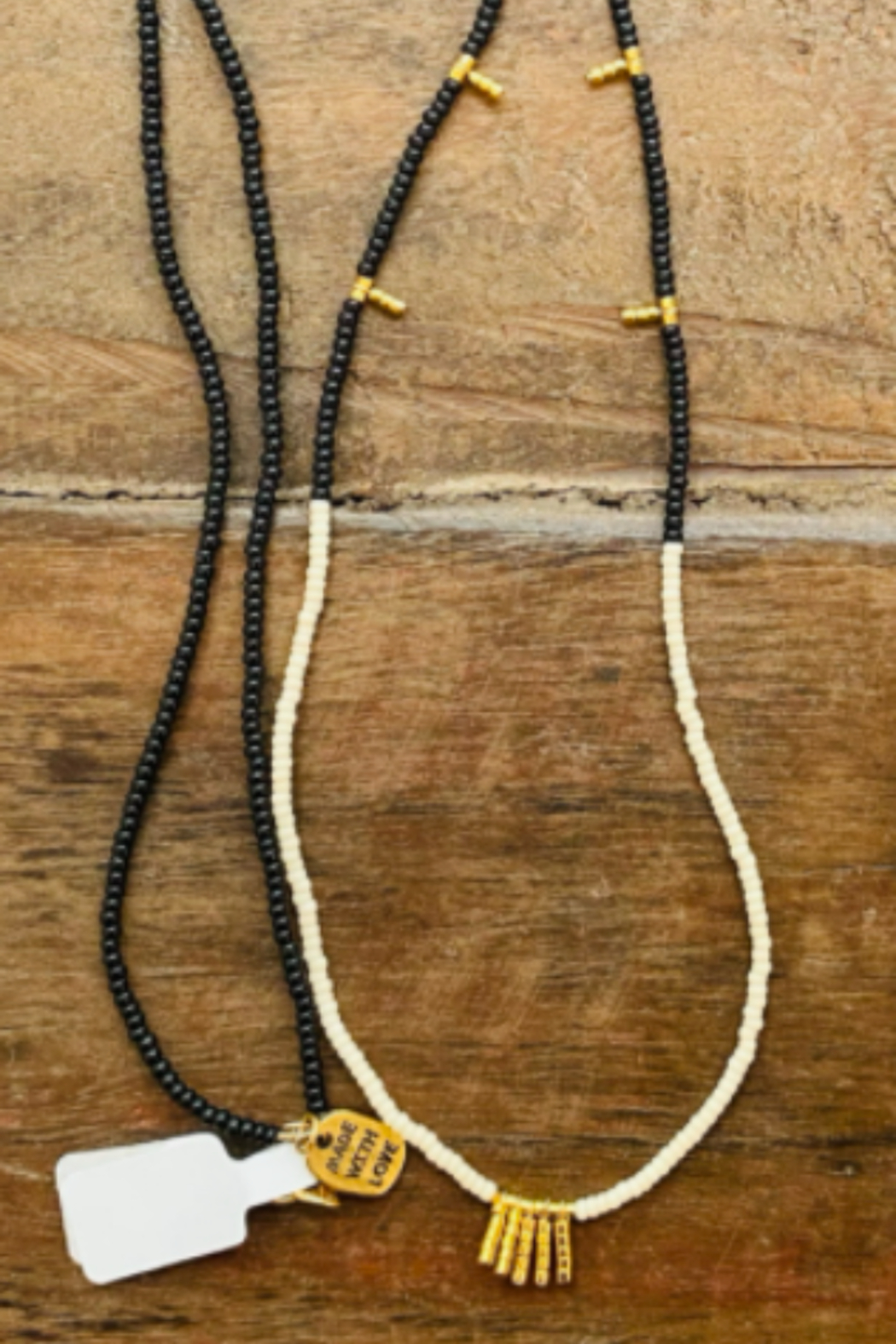 sidai Black, White & Gold Beaded Necklace - Front Cropped Image