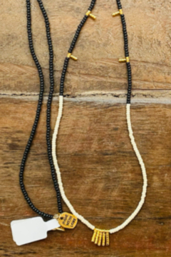 sidai Black, White & Gold Beaded Necklace - Product List Image