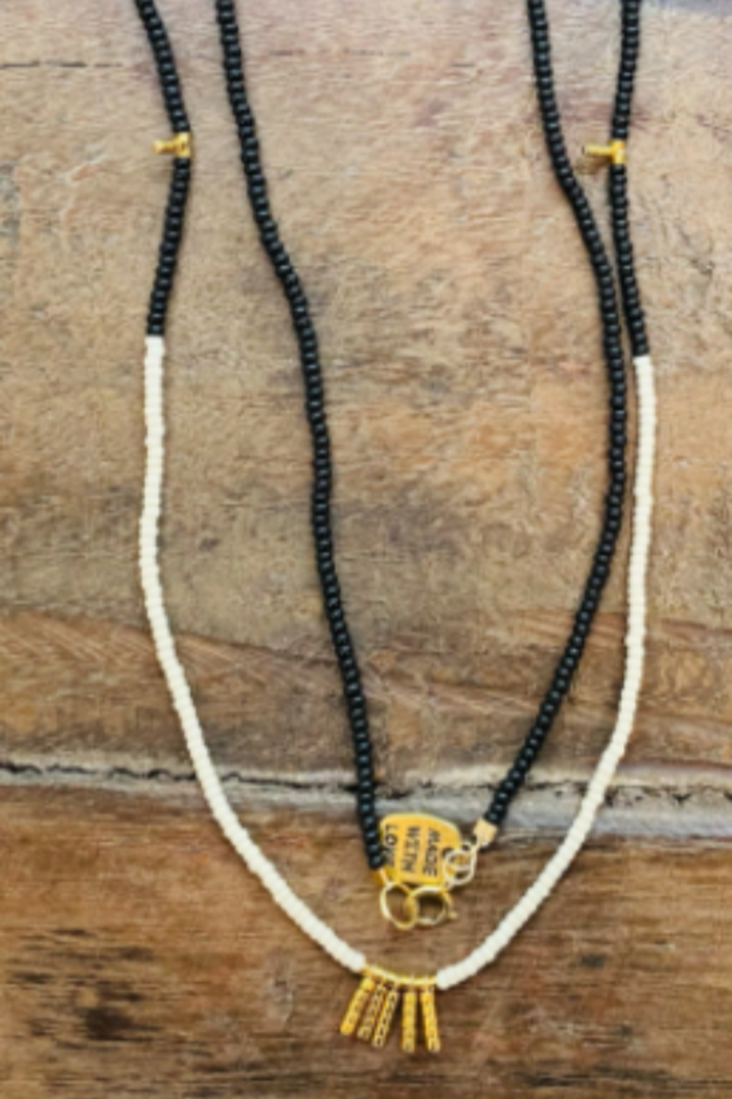 sidai Black, White & Gold Beaded Necklace - Front Full Image