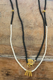 sidai Black, White & Gold Beaded Necklace - Front full body