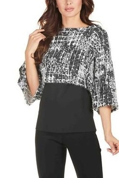 Frank Lyman Black & White Batwing Sleeve Overlay Top - Product List Image