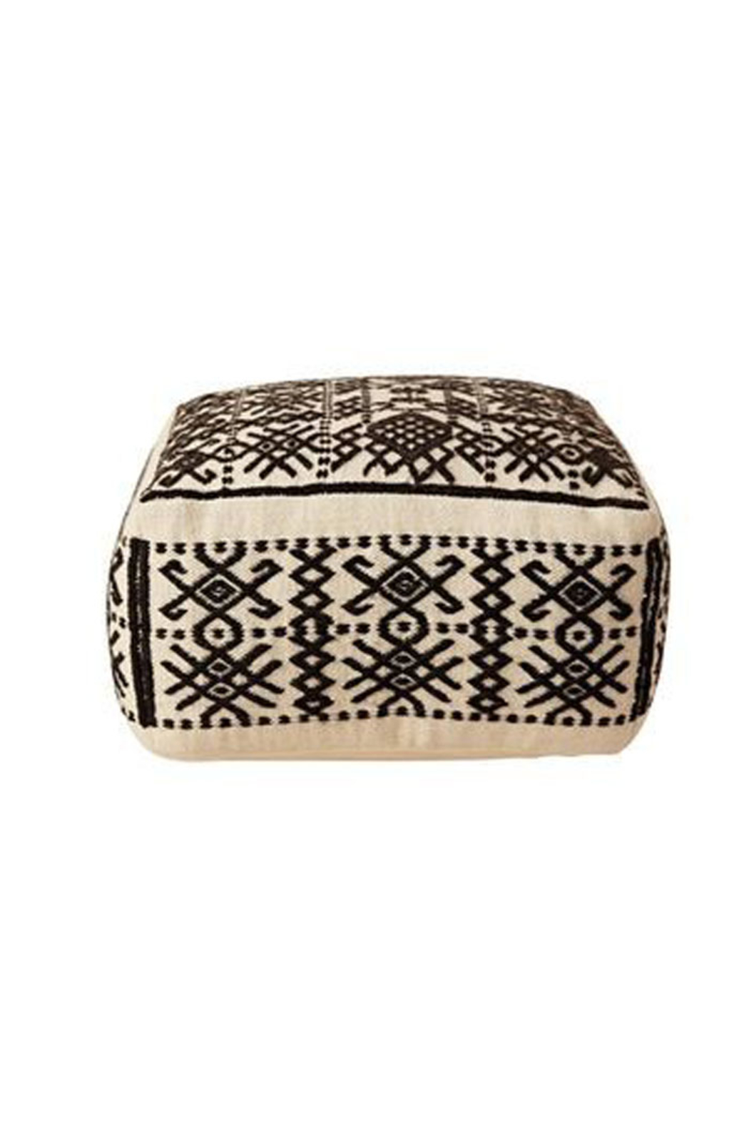 Creative Co-Op Black + White Boho Pouf - Front Cropped Image