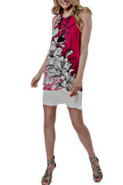 Clotheshead Black/White/Cerise Tropical Bloom Dress - Front cropped