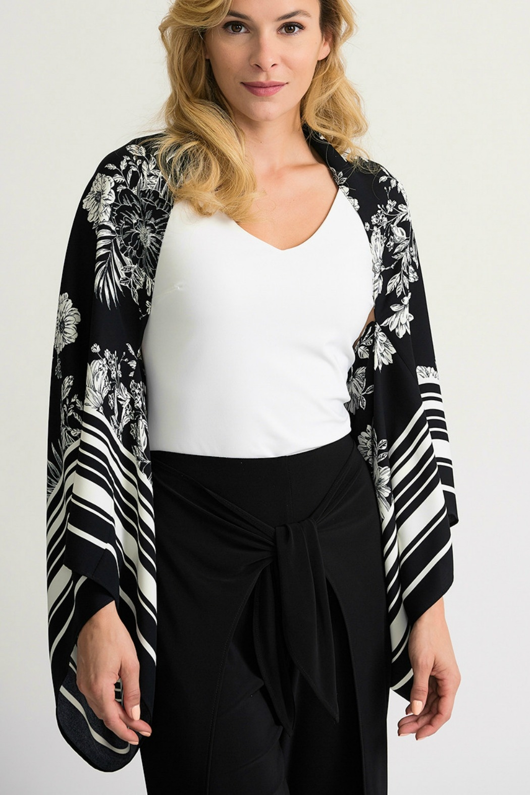 Joseph Ribkoff USA Inc. Black+White Cover Up Style - Front Cropped Image