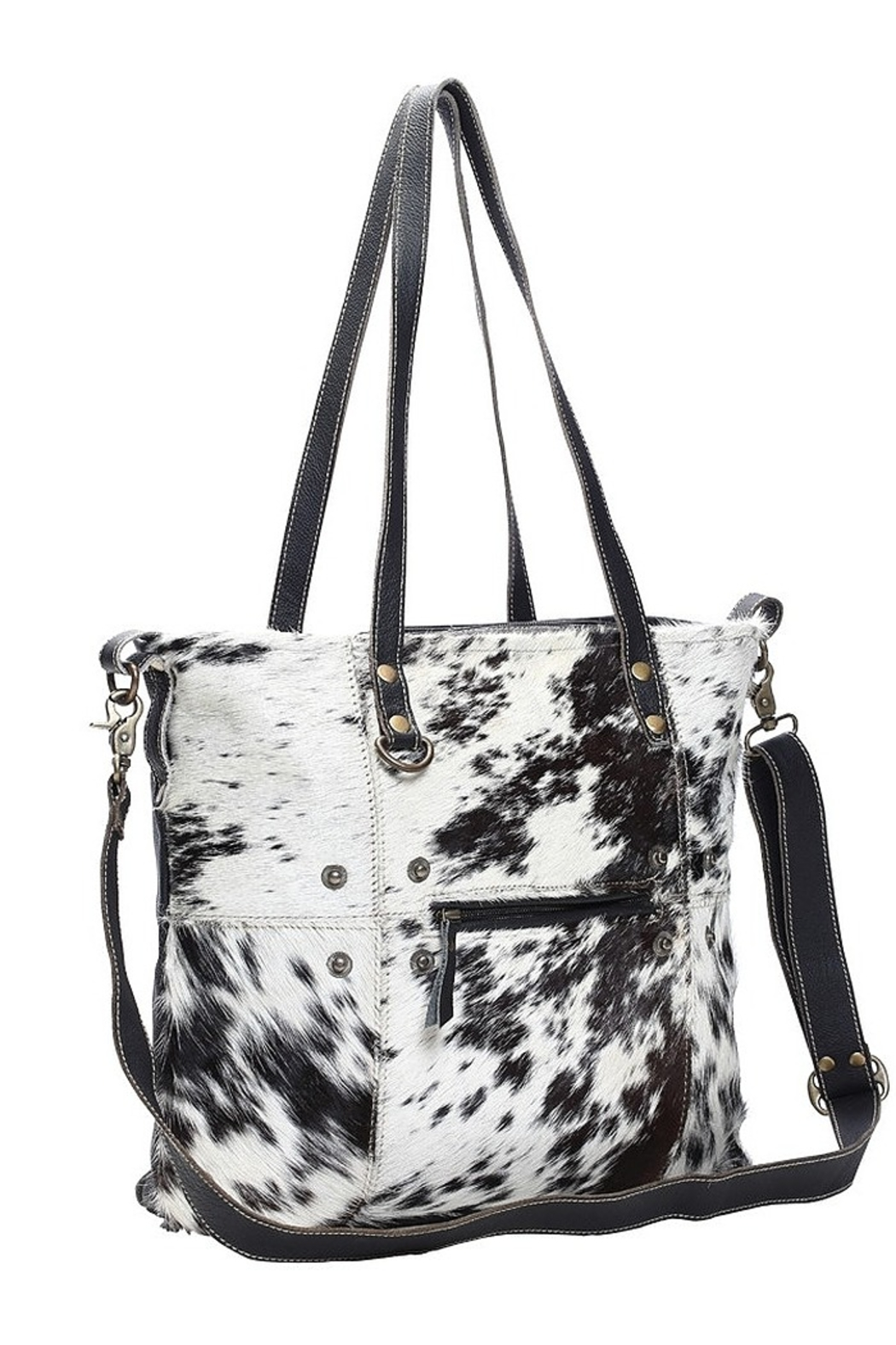 Myra Bags Black & White Cowhide Shade Tote Bag - Front Full Image