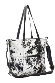 Myra Bags Black & White Cowhide Shade Tote Bag - Front full body