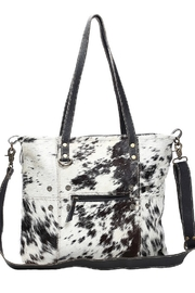 Myra Bags Black & White Cowhide Shade Tote Bag - Front cropped