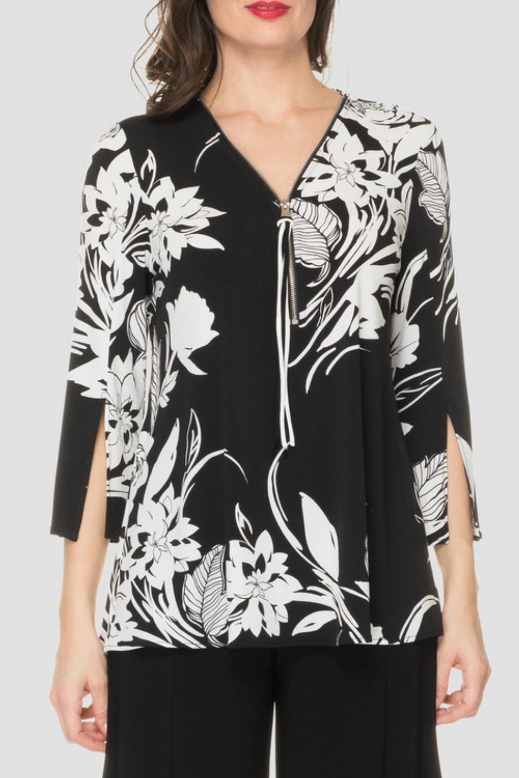 Joseph Ribkoff Black + White Floral Top - Front Cropped Image