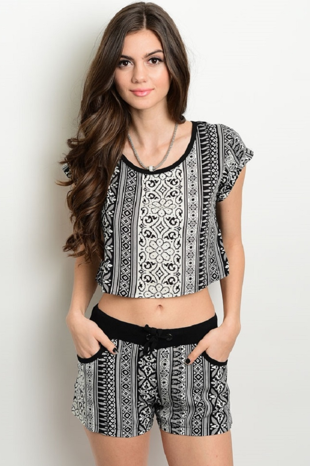 WFS Black & White Geometric Pattern Top - Front Cropped Image