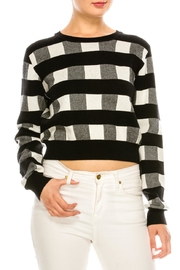 Lush Black-White Gingham Sweater - Product Mini Image