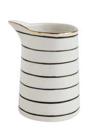 Creative Co-Op Black + White + Gold Stoneware Pitcher - Front cropped