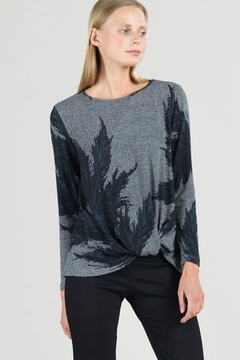 Clara Sunwoo Black/white herringbone with leaf sketch top - Product List Image