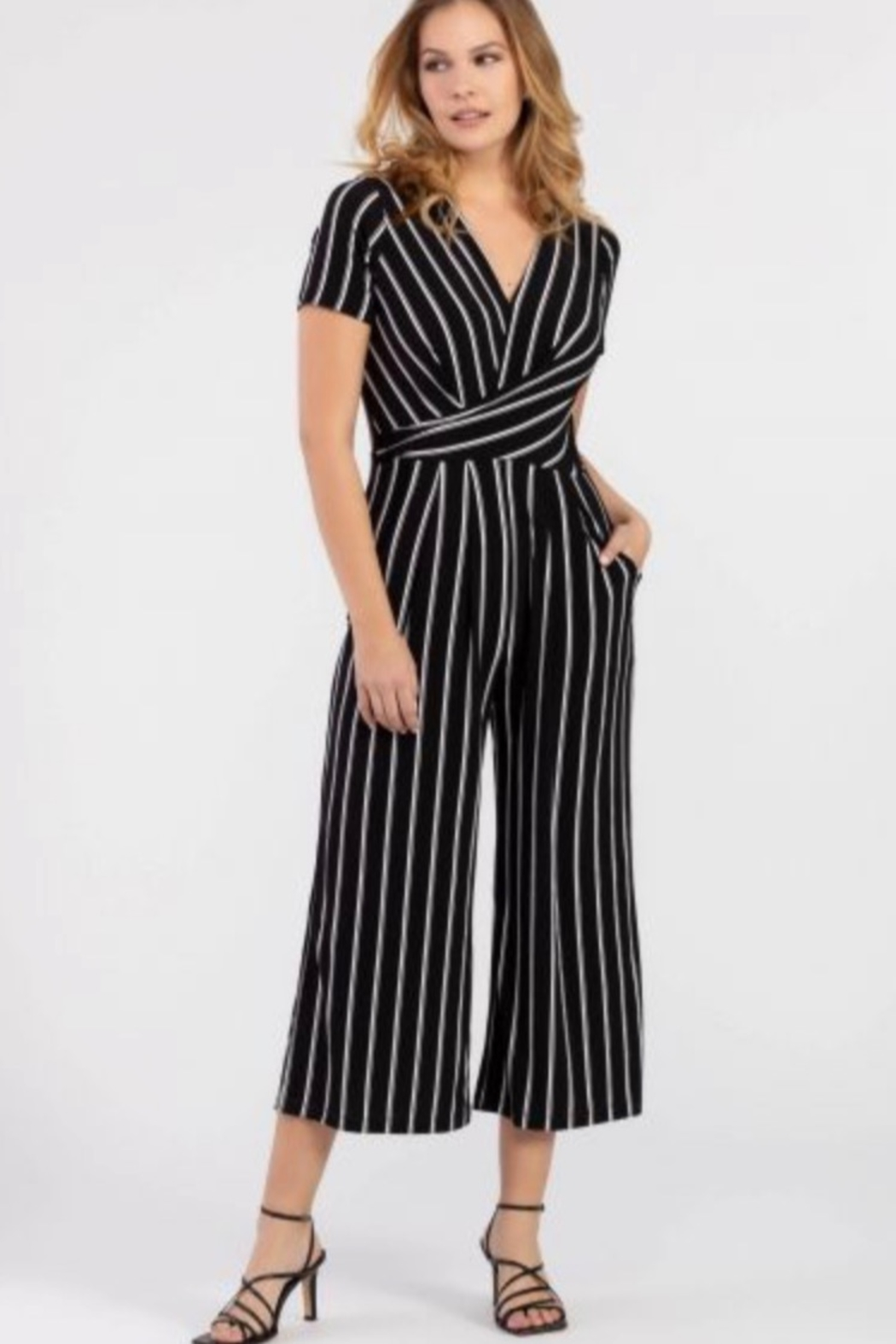 Tribal Black/white jumpsuit - Front Cropped Image