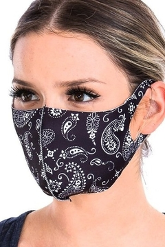 Cap Zone BLACK/WHITE PAISLEY FACE MASK - Alternate List Image