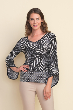 Joseph Ribkoff  Black/White Palm print v-neck top with bell sleeve. - Product List Image