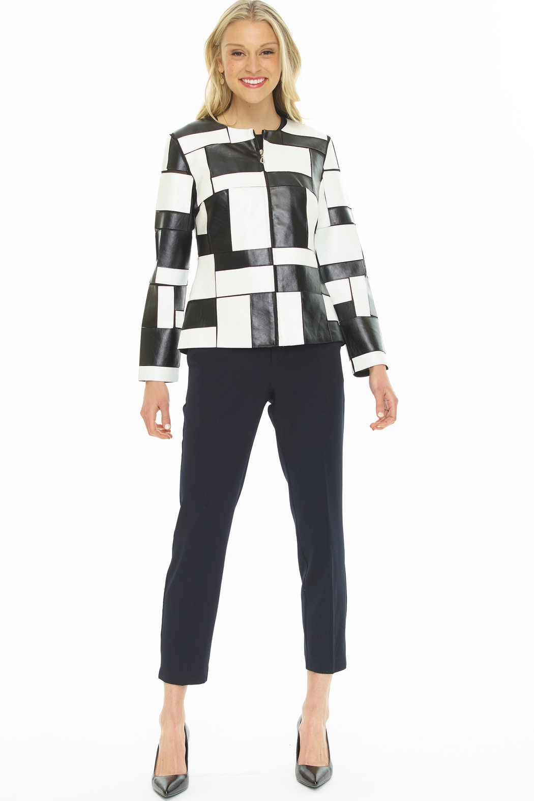 weavz Black & White Patchwork Jacket - Front Cropped Image