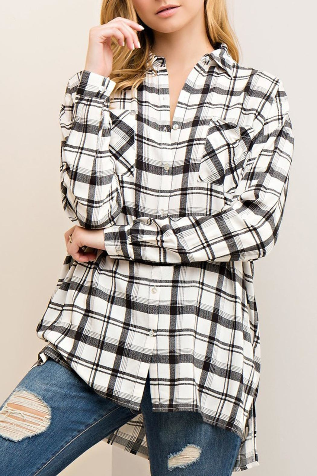 Entro Black/white Plaid Blouse - Main Image