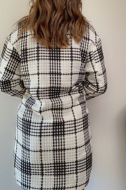 Lucy & Co. Black & White Plaid Jacket - Front full body