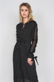 Tasha Apparel Black/White Plaid Maxi Dress - Product Mini Image