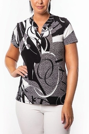 Bali Corp. Black White Print Blouse - Product Mini Image