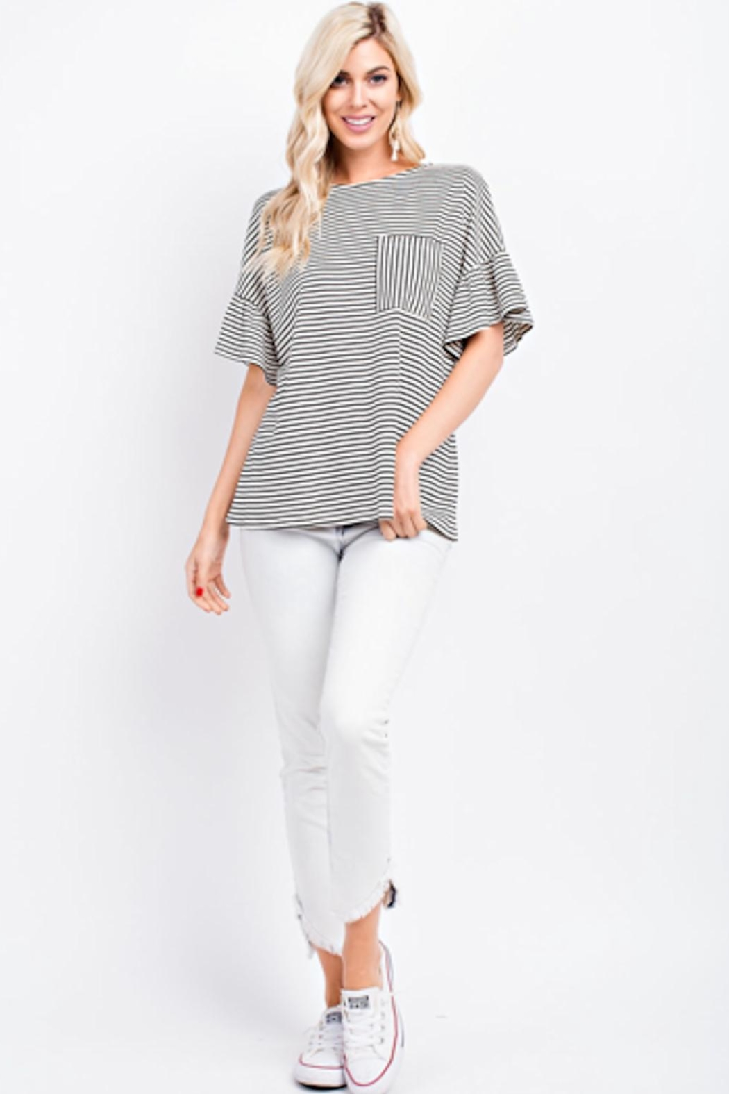 143 Story Black/white Ruffle Top - Front Cropped Image