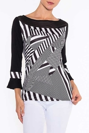 Alison Sheri Black and White Silky Knit Top - Product Mini Image