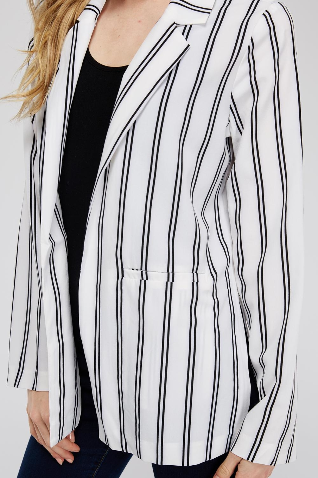 lunik Black&White Stripe Blazer - Back Cropped Image