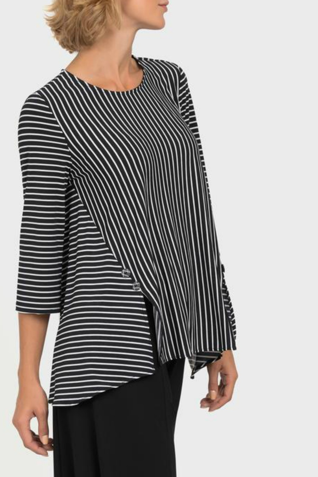 Joseph Ribkoff USA Inc. Black + White Stripe Top - Front Full Image