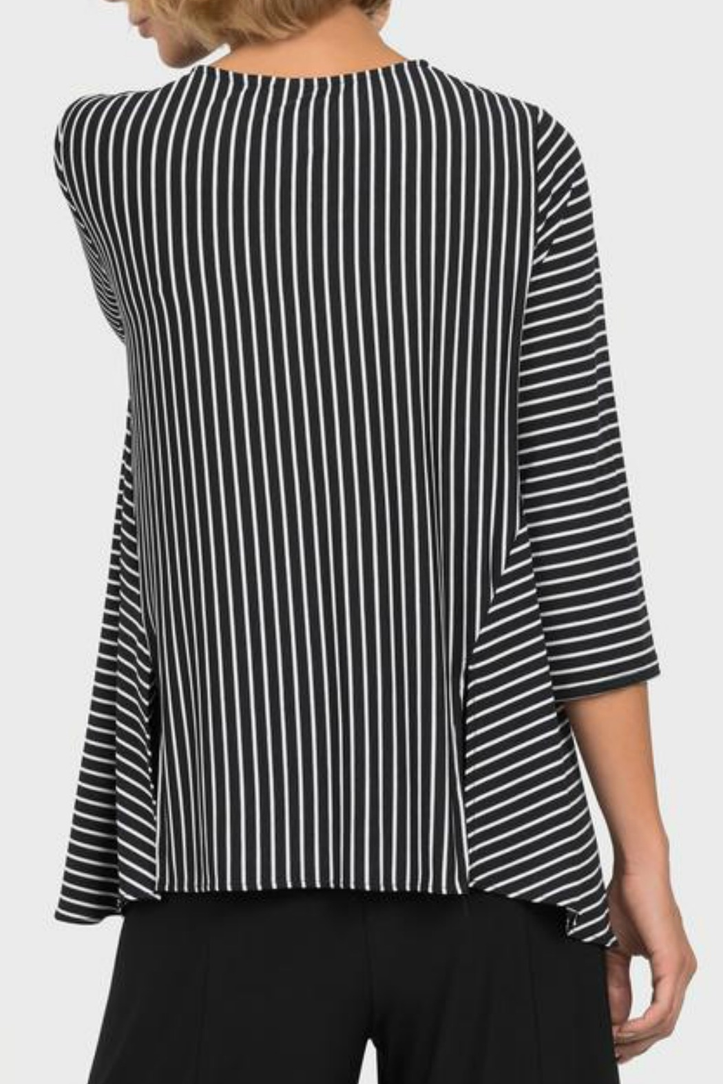 Joseph Ribkoff USA Inc. Black + White Stripe Top - Side Cropped Image