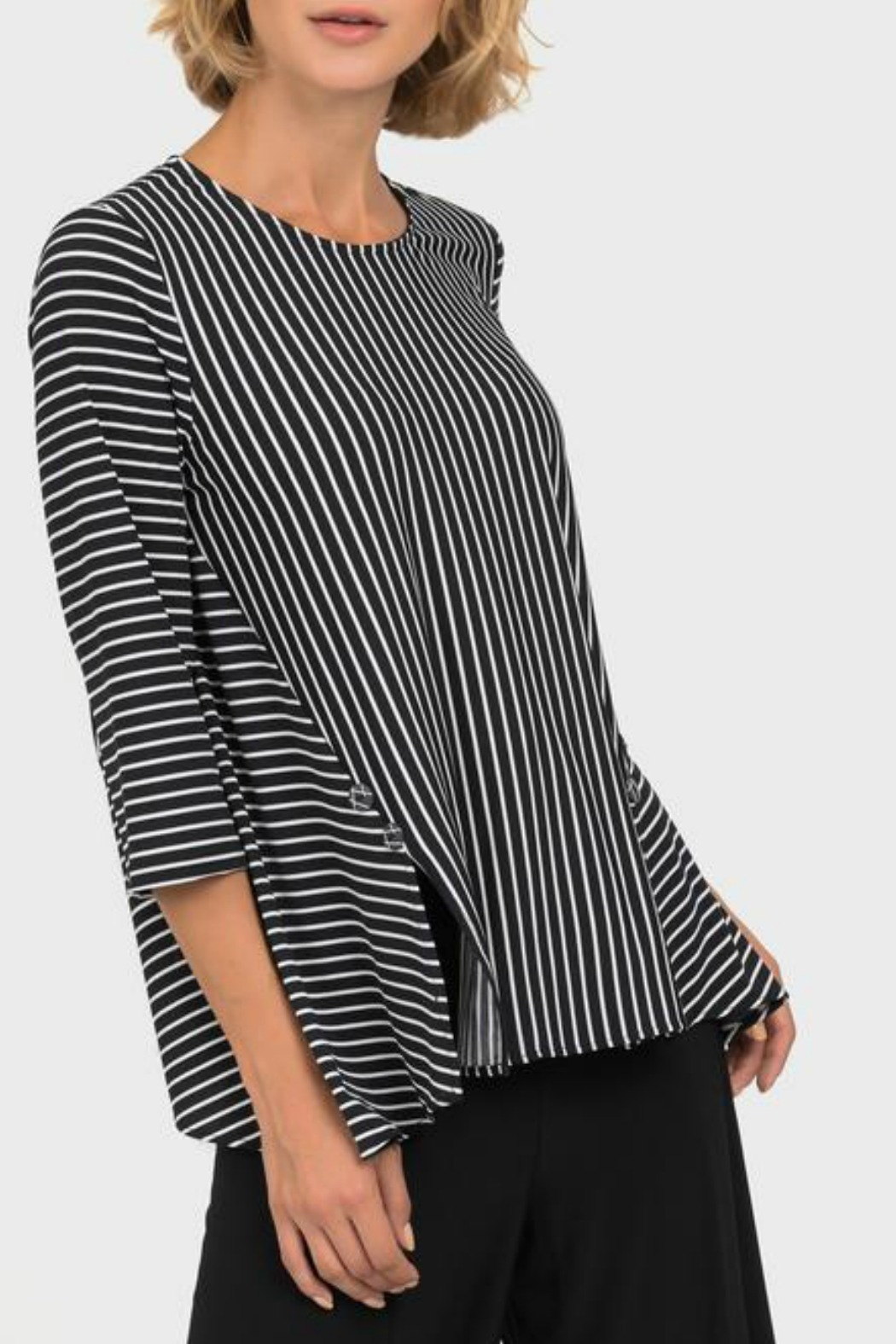 Joseph Ribkoff USA Inc. Black + White Stripe Top - Front Cropped Image
