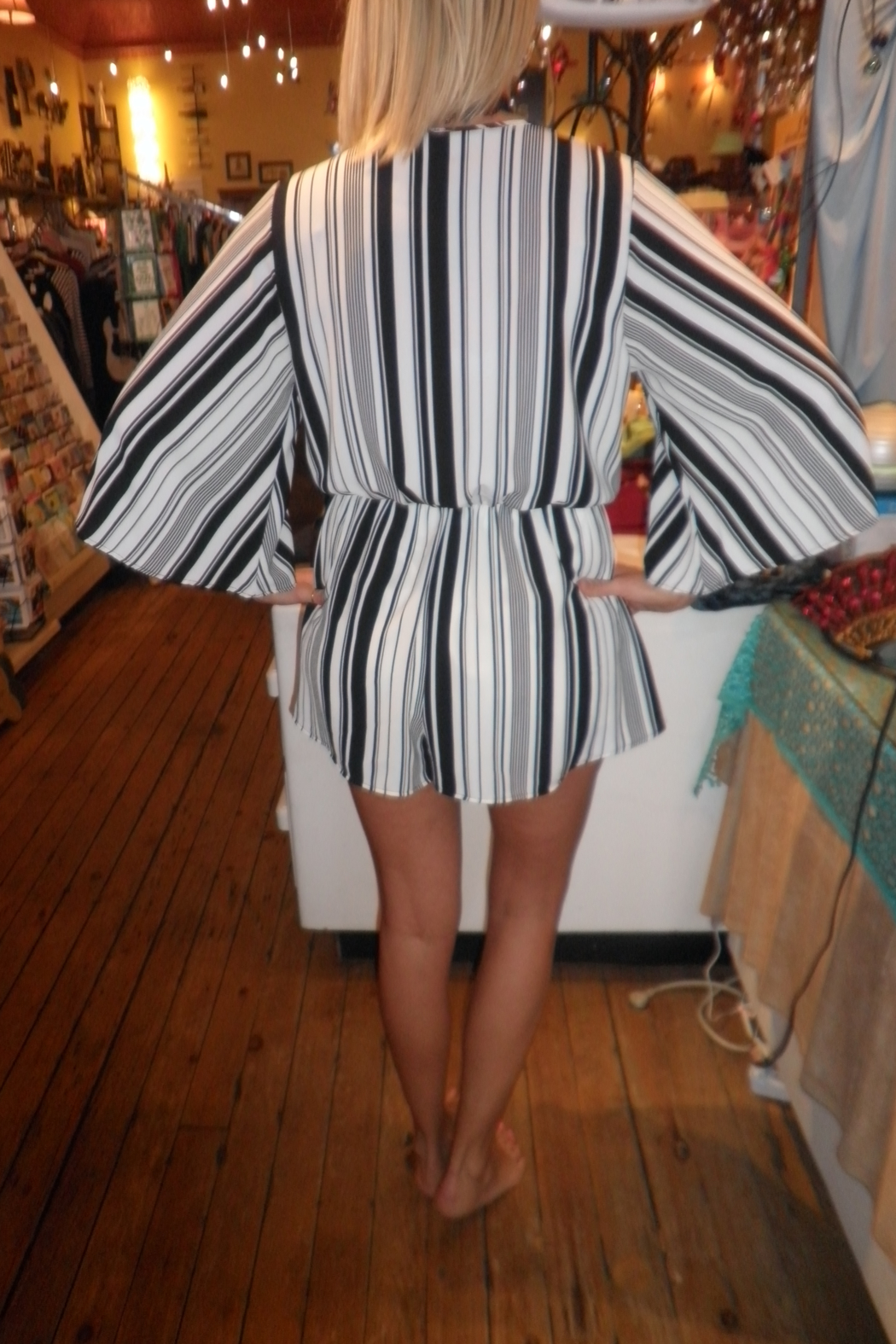 Wish Collection Black & White Striped Romper - Front Full Image