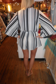 Wish Collection Black & White Striped Romper - Front full body
