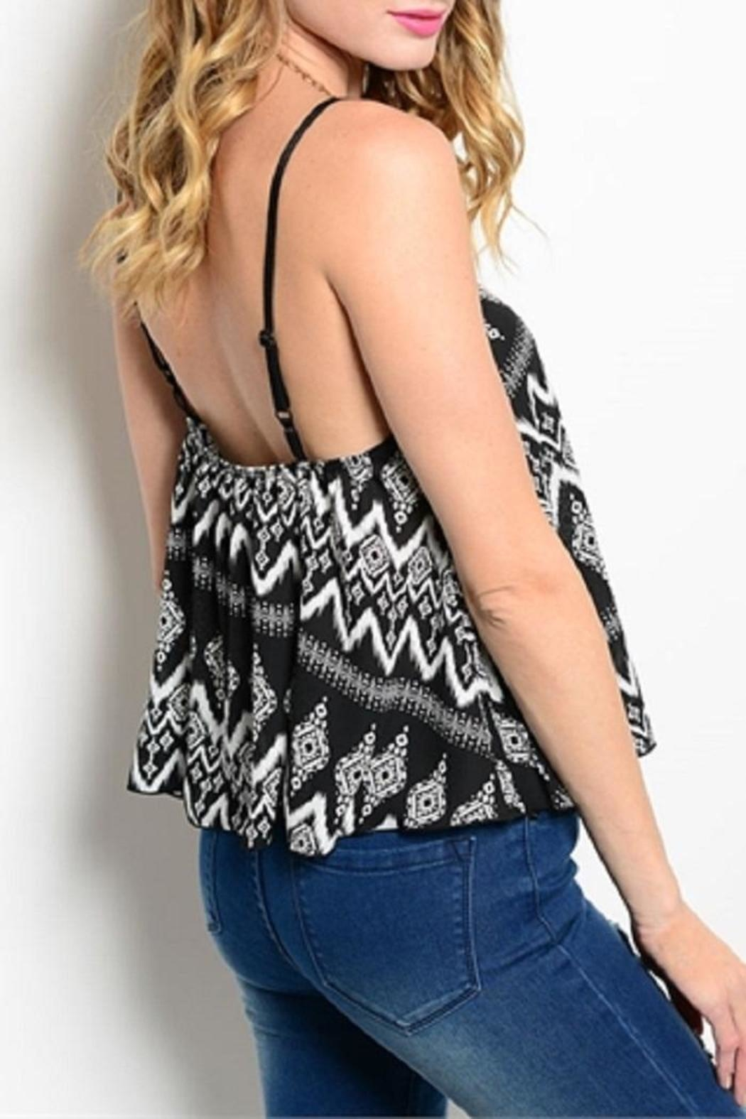 WFS Black & White Patterned Tank Top - Front Full Image