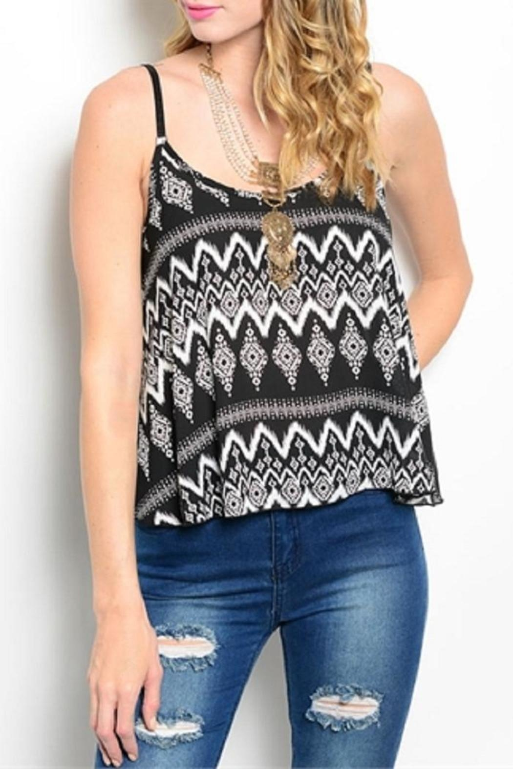 WFS Black & White Patterned Tank Top - Front Cropped Image