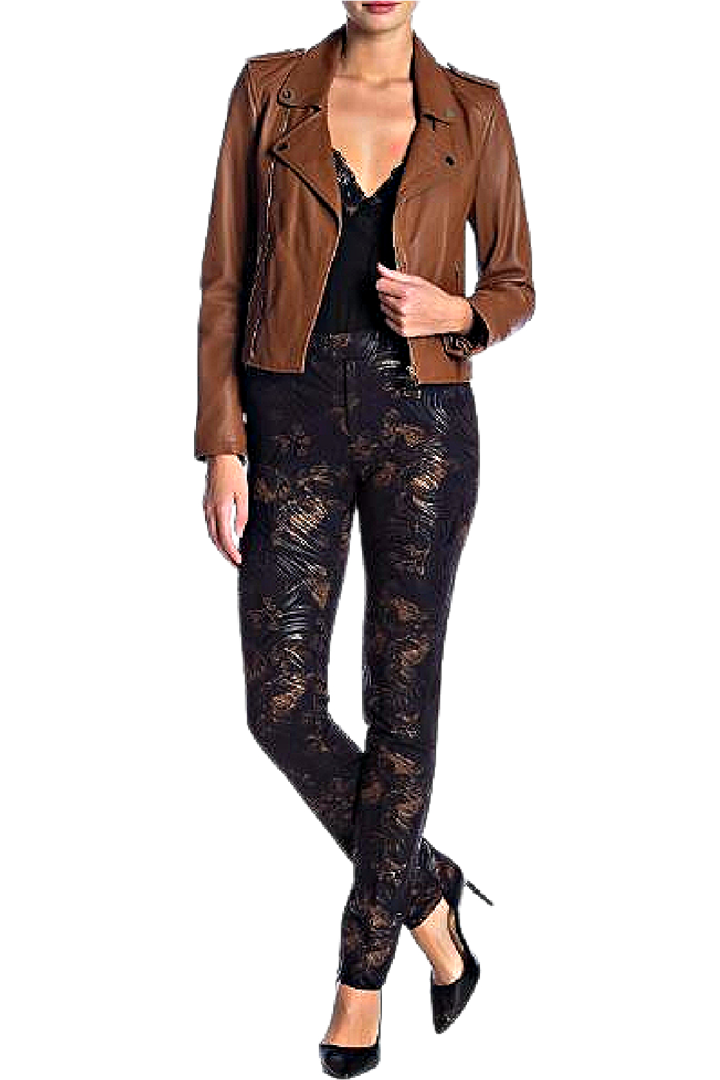 INSIGHT NYC Black With Copper Mocha Rose Scuba Pant - Main Image