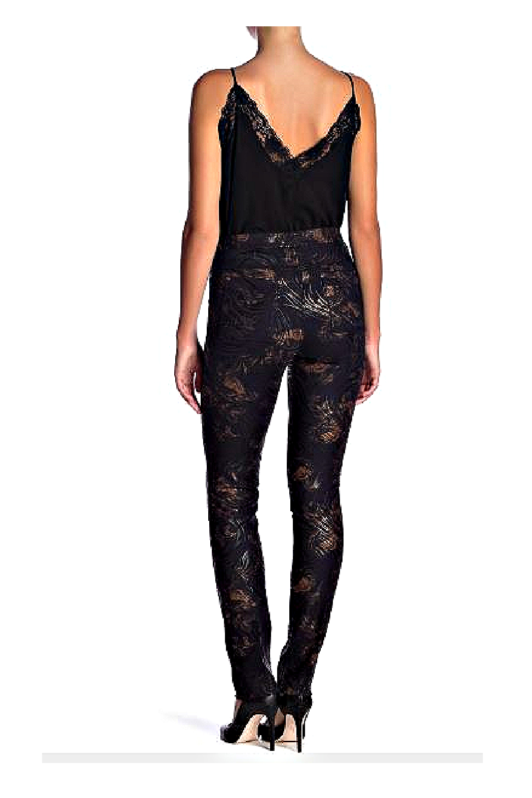 INSIGHT NYC Black With Copper Mocha Rose Scuba Pant - Front Full Image